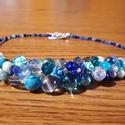 Kék álom nyakék ., Ékszer, Nyaklánc, Kék színű üveg gyöngyökből fűztem ,dróttal rögzítettem .Apró kék üveg és gyanta virá..., Meska