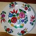 Kalocsai kézzel festett porcelán tányér ., Konyhafelszerelés, Magyar motívumokkal, Otthon, lakberendezés, Szabad kézzel festem ,eredeti kalocsai minta alapján . Száradás után ki égetem ,mosogató gépben moso..., Meska