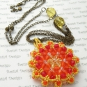 Nap mandala csiszolt nyaklánc, extra hosszú, Mandala átmérője: kb. 6.5 cm Nyaklánc teljes ...