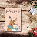 Karácsonyi képeslap - állatos, szarvas és hóember üdvözlőlap - Boldog Karácsonyt!, Dekoráció, Ünnepi dekoráció, Karácsonyi, adventi apróságok, Ajándékkísérő, képeslap, Fotó, grafika, rajz, illusztráció, Papírművészet, Karácsonyi képeslap, üdvözlőlap állatos mintával.  Küldj egyedi karácsonyi képeslapot szeretteidnek..., Meska