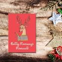 Karácsonyi képeslap - állatos, rénszarvasos üdvözlőlap - Boldog Karácsonyt!, Dekoráció, Ünnepi dekoráció, Karácsonyi, adventi apróságok, Ajándékkísérő, képeslap, Fotó, grafika, rajz, illusztráció, Papírművészet, Karácsonyi képeslap, üdvözlőlap állatos mintával.  Küldj egyedi karácsonyi képeslapot szeretteidnek..., Meska