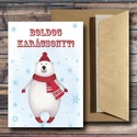 Karácsonyi képeslap - állatos, jegesmedvés üdvözlőlap - Boldog Karácsonyt!, Dekoráció, Ünnepi dekoráció, Karácsonyi, adventi apróságok, Ajándékkísérő, képeslap, Fotó, grafika, rajz, illusztráció, Papírművészet,  Karácsonyi képeslap, üdvözlőlap állatos, jegesmedvés mintával.  Küldj egyedi karácsonyi képeslapot..., Meska