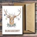 Karácsonyi képeslap - állatos, szarvasos üdvözlőlap - Boldog Karácsonyt!, Dekoráció, Ünnepi dekoráció, Karácsonyi, adventi apróságok, Ajándékkísérő, képeslap, Fotó, grafika, rajz, illusztráció, Papírművészet,  Karácsonyi képeslap, üdvözlőlap állatos mintával.  Küldj egyedi karácsonyi képeslapot szeretteidne..., Meska