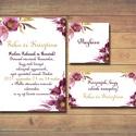 Esküvői meghívó - lila virágos, akvarell virágmotívummal, elegáns kiviteé, Esküvő, Meghívó, ültetőkártya, köszönőajándék, Fotó, grafika, rajz, illusztráció, Papírművészet, Esküvői romantikus, virágos meghívó  Nyűgözd le vendégeid ezzel az egyedi, elegáns esküvői meghívóv..., Meska