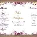 Esküvői menü - italok és ételek, esküvői menülap, lila, virágos, akvarell, Esküvő, Dekoráció, Meghívó, ültetőkártya, köszönőajándék, Esküvői dekoráció, Fotó, grafika, rajz, illusztráció, Papírművészet, Esküvői romantikus, virágos menülap  Nyűgözd le vendégeid ezzel az egyedi, elegáns esküvői menülapp..., Meska
