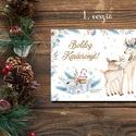 Karácsonyi képeslap - rénszarvasos üdvözlőlapok - Boldog Karácsonyt!, Dekoráció, Ünnepi dekoráció, Karácsonyi, adventi apróságok, Ajándékkísérő, képeslap, Fotó, grafika, rajz, illusztráció, Papírművészet,  Karácsonyi képeslap, üdvözlőlap állatos mintával.  Küldj egyedi karácsonyi képeslapot szeretteidne..., Meska