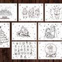 Karácsonyi színező, kifestő gyerekeknek - 8 db-os szett, Baba-mama-gyerek, Naptár, képeslap, album, Képzőművészet, Gyerekszoba, Fotó, grafika, rajz, illusztráció, Papírművészet, Karácsonyi mintás színező, kifestő gyerekeknek.  8 db-os A6-os méretű lapokból áll. A lapok hátolda..., Meska