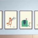 Babaszoba fali dekoráció, medve, róka, elefánt, oroszlán fali kép A4 méretben keret nélkül, Baba-mama-gyerek, Dekoráció, Gyerekszoba, Baba falikép, Babaszoba fali dekoráció, medve, róka, elefánt, oroszlán fali kép A3 méretben keret nélkül ..., Meska