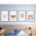 Babaszoba fali dekoráció, maci, szarvas, róka, nyuszi, farkas fali kép A4 méretben, keret nélkül, Baba-mama-gyerek, Dekoráció, Gyerekszoba, Baba falikép, Babaszoba | Gyerekszoba fali képek, állatos képek keret nélkül.  Az ár, a 4 db-os kép szettre..., Meska