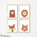 Babaszoba fali képek - elegáns állatok, maci, oroszlán, tigris,  -  A4 méretben keret nélkül, Baba-mama-gyerek, Dekoráció, Gyerekszoba, Baba falikép, Babaszoba fali képek - elegáns állatok, maci, oroszlán, tigris,  -  A4 méretben keret nélkül ..., Meska