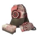 Piros mandalás-sötétbézs m.bőr szett, Gymbag leírása:  Textilbőr és loneta vászon k...
