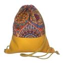 Felnőtt tornazsák (gymbag) - Narancs-bordó mandala okker műbőrrel, Textilbőr és loneta vászon kombinációjával k...