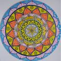 Virág mandala, Otthon & Lakás, Dekoráció, Mandala, Festészet, Az általam készített mandala átmérője: 40cm Készült: Festővászonra, akril festékkel. Befejező spray..., Meska