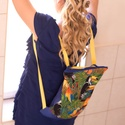 Dzsungel hátizsák, Baba-mama-gyerek, Táska, Válltáska, oldaltáska, Hátizsák, Varrás, 30x 46 cm hátizsák, cipzárral a tetején. Designer textil és egy különleges királykék anyag ötvözése..., Meska