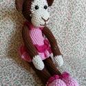 Rózsaszín csimpike kislány horgolt majom amigurumi, Játék, Játékfigura, Csimpike majmok hossza 35cm.Ölelnivaló kis csimpilány gazdia kedvence lesz!Szemeik biztonsági szemek..., Meska