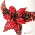 Őszi liliom, Ékszer, Nyaklánc, Elegáns, feltűnő nyakéket készítettem minőségi japán, és cseh gyöngyök felhasználásával.  Színeiben ..., Meska