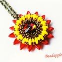 Sunflower III., Ékszer, Medál, Nyaklánc, Bár színeiben, nem, de formájában nagyon hasonlít egy napraforgóra legújabb medálom, melyet saját te..., Meska