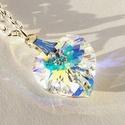 Swarovski szív medál- Crystal Ab, Ékszer, Medál, Nyaklánc, Azt hiszem, a Swarovski ékszerek kedvelőinek nem kell bemutatnom a márkát: a csodásan csillogó krist..., Meska