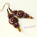 Incan treasure, Ékszer, Fülbevaló, Egy nagyon szép, barokkos színvilágú, és formájú fülbevalót készítettem.  A lila színű ívelt gyöngyö..., Meska