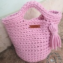 Horgolt tote bag- púder rózsaszín , Ezt a táskát egyedi rendelésre készítettem, h...
