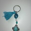 Türkiz kulcstartó, Mindenmás, Kulcstartó, Kulcstartó türkiz kővel  Anyaga: fém, pamut, műanyag Méret: 9 cm x 4 cm, Meska