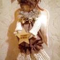 Angyal dekoráció, Dekoráció, Otthon, lakberendezés, Ünnepi dekoráció, 40 cm magas természetes anyagokból készült dekorációs Angyal. Natúr színeket válogattam az ..., Meska