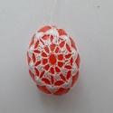 Húsvéti tojás, Dekoráció, Otthon, lakberendezés, Ünnepi dekoráció, Húsvéti díszek, Műanyag tojást horgoltam körbe horgolócérnával, ami a húsvéti hímes tojás hatását kelti ..., Meska
