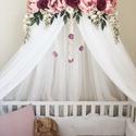 Virágkoszorúval díszített exkluzív baldachin, Otthon & Lakás, Lakástextil, Rácsvédő & Baldachin, Varrás, Mindenmás, Gyönyörű selyemvirágokkal díszített baldachin, melyet babaágy/gyermekágy fölé, vagy gyerekszobába k..., Meska