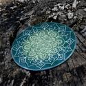 Kerámia Szívcsakra Mandala lakásdekoráció, Dekoráció, Képzőművészet, Napi festmény, kép, Egyedi, kézzel készült, karcolt mintás Szívcsakra Mandala dekoráció falra vagy asztalra. A hátán önt..., Meska