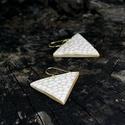 Arany - fehér háromszög fülbevaló, Ékszer, óra, Fülbevaló, Ha szereted a geometrikus ékszereket. Ha szimbólum alapján választasz - nőiség, befogadás, földi ene..., Meska