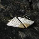 Fehér- Arany háromszög BRékszer fülbevaló, Ékszer, óra, Fülbevaló, Ha szereted a geometrikus ékszereket. Ha szimbólum alapján választasz - nőiség, befogadás, földi ene..., Meska