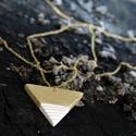 Fehér- Arany háromszög BRékszer nyaklánc, Ékszer, Fülbevaló, Ha szereted a geometrikus ékszereket. Ha szimbólum alapján választasz - nőiség, befogadás, földi ene..., Meska