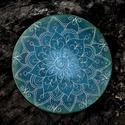 Kerámia Szívcsakra Mandala lakásdekoráció, Dekoráció, Képzőművészet, Napi festmény, kép, Egyedi, kézzel készült, karcolt mintás  Mandala dekoráció falra vagy asztalra. A hátán öntapadós vék..., Meska
