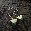Arany - türkiz zöld  háromszög BRékszer fülbevaló, Ékszer, Fülbevaló, Ha szereted a geometrikus ékszereket. Ha szimbólum alapján választasz - nőiség, befogadás, földi ene..., Meska