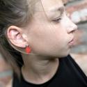Mini szív - Narancspiros fülbevaló, Ékszer, Szerelmeseknek, Fülbevaló, Ha szolid, de cuki darabokat szereted, ez igazán neked való. Mini szívecske narancspiros színben, ez..., Meska