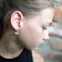 Mini szív - Arany fülbevaló, Ékszer, Szerelmeseknek, Fülbevaló, Ha szolid, de cuki darabokat szereted, ez igazán neked való. Mini szívecske indigókék színben, arany..., Meska