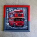 Londoni hangulatok 2.  decoupage- val, és festéssel készített szalvétakép, Dekoráció, Otthon, lakberendezés, Kép, Falikép, 20x20 cm-es falikép. Keretét saját kezűleg öntöm gipszből, majd akrilfestékkel alapozom. Sza..., Meska