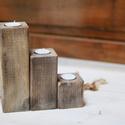 Mécsestartó hasáb, Otthon & Lakás, Dekoráció, Festett tárgyak, Famegmunkálás, Fenyőből késztettem ezt a mécsestartó triót. Többféle képpen variálható hasábok.kb:7-14-21cm magasa..., Meska