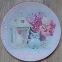 Baglyos kínáló tányér Shabby Chic stílusú, Otthon, lakberendezés, Dekoráció, Tárolóeszköz, Ünnepi dekoráció, 15 cm átmérőjű üvegtányért díszítettem. Baglyos szalvétát dekupázsoltam, repesztettem, m..., Meska