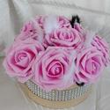 Rózsaszín habrózsákból álló virágbox, Dekoráció, Dísz, Virágkötés, Rózsaszín rózsák ól álló virágbox Átmérő kb 20 cm rózsákkal együtt, 10 rózsafejből áll A dobozt str..., Meska
