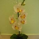 agyag orchidea - phalaenopsis fehér, Dekoráció, Otthon, lakberendezés, Dísz, orchidea agyagból és drótból, olajfestékkel színezve. Nem törékeny, és nem kell locsolni!  ..., Meska