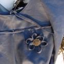 Kék virágos kifordítható táska, Mindkét oldaláról hordható, kifordítható tá...