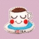 Mosolygós csésze kitűző, Szereted a teát? Ha igen ez a kitűző Neked kés...