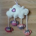 Szívecskés felhő baglyokkal, Filcből készült szívecskés felhő aranyos bag...