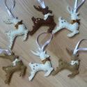 Szarvasok karácsonyfadísz (6db), Filcből készült, kézzel varrt szarvas karácso...