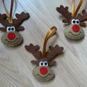 Rénszarvas fej karácsonyfadísz, Filcből készült, kézzel varrt rénszarvas fej ...