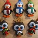 Bagoly, pingvin karácsonyfadísz (picur9 részére), Filcből készült, kézzel varrt karácsonyfadís...