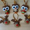Karácsonyfadíszek (rénszarvas, bagoly), Kézzel varrt , filcből készült aranyos karács...