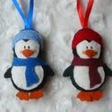 Filc pingvin karácsonyfadísz, Filcből készült, kézzel varrt pingvinek.  Mér...