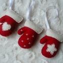 Filc kesztyű karácsonyfadísz, Filcből készült, kézzel varrt kesztyű karács...